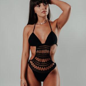 bikini une pièce hamaji classic black vue de face