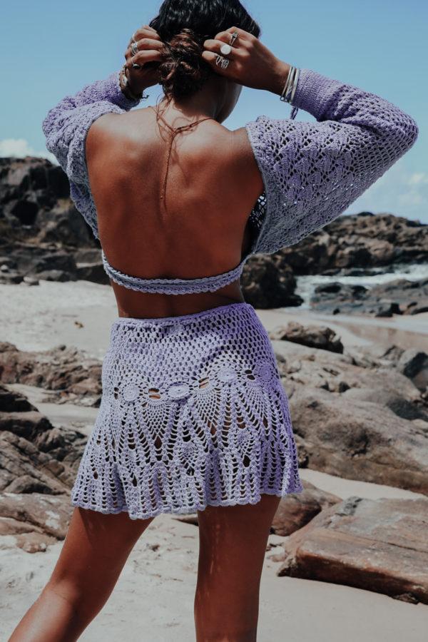 crop top manche longue crochet