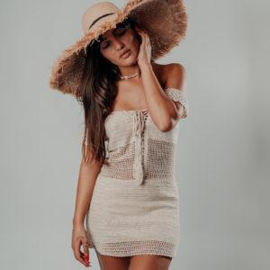 chapeau areiti avec robe maemae coconut vue de face